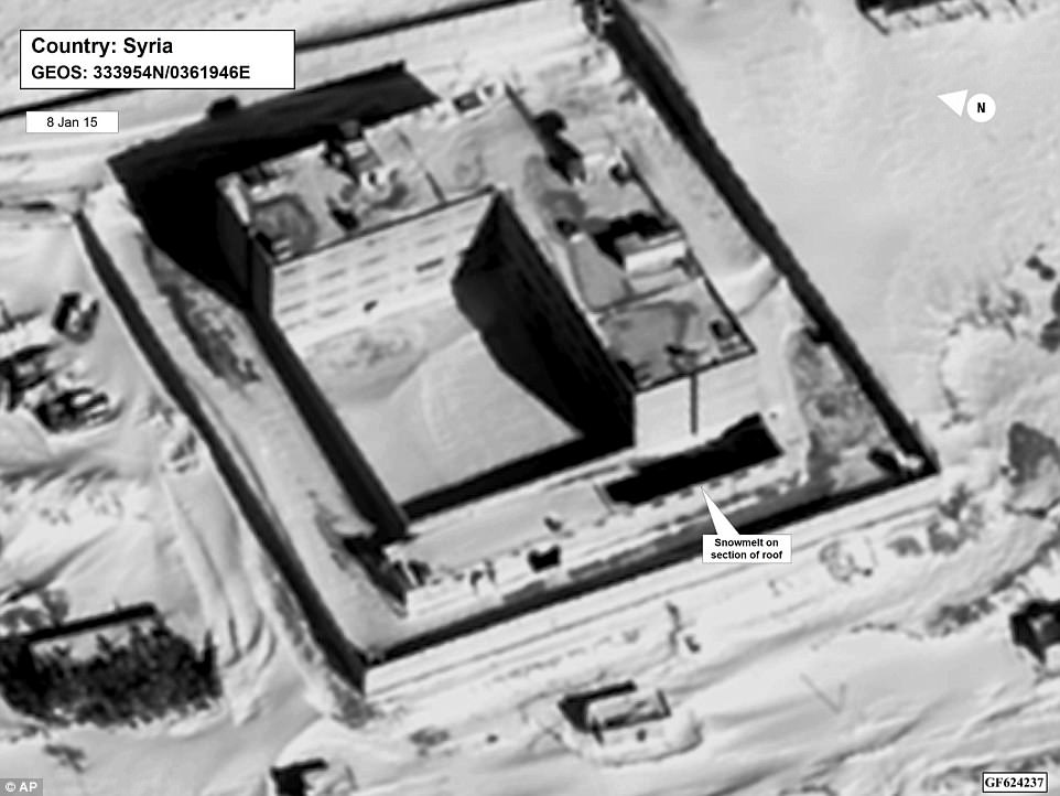 This image provided by the State Department and DigitalGlobe, taken Jan. 15, 2015, a satellite image of what the State Department described as a building in a prison complex in Syria that was modified to support a crematorium