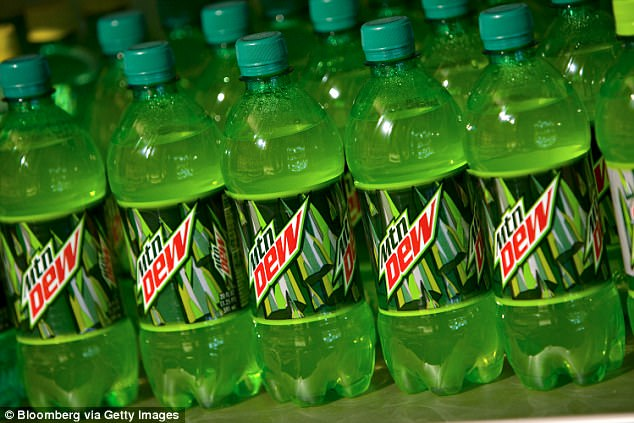 One of the drinks Cripe drank before school was a large Mountain Dew. Pictured is a stock image of Mountain Dew bottles on display