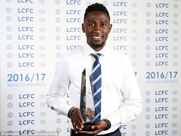 Wilfred Ndidi of Leicester City wins Young Player of the Season award at King Power Stadium