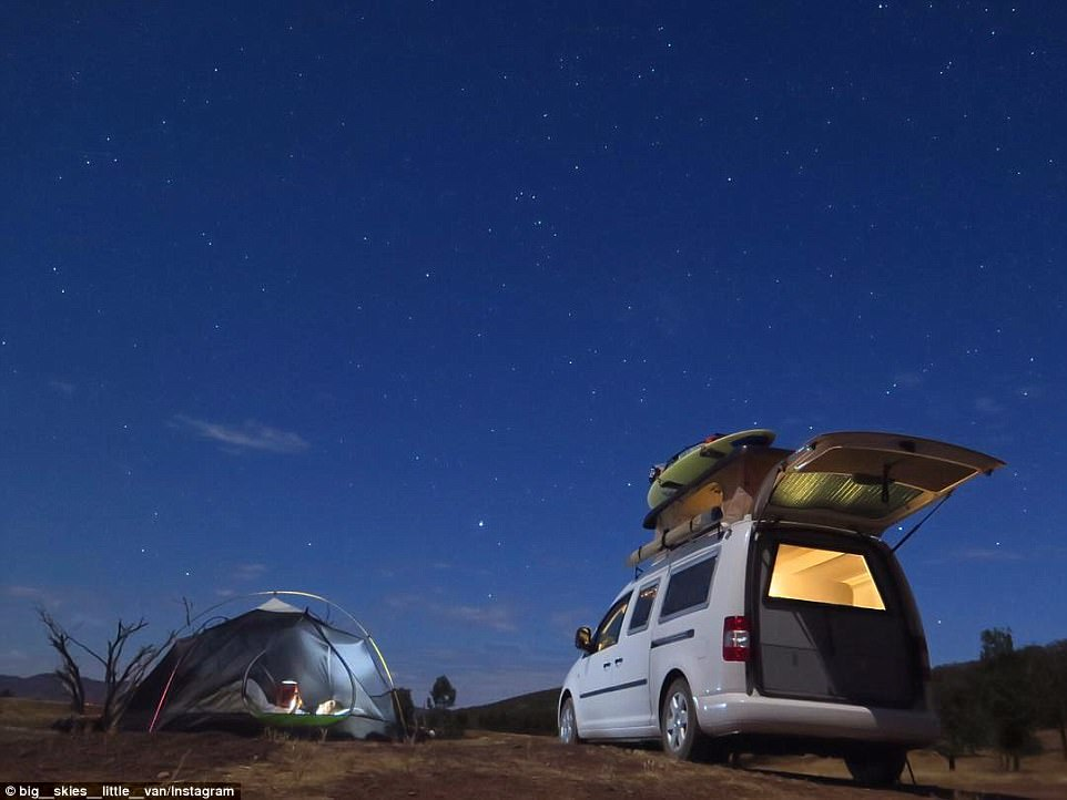 Night under the stars: NSW coupleT yler and Millie revealed they had travelled 20,000 kilometres across four states of Australia in their Volkswagon Caddy van (pictured)