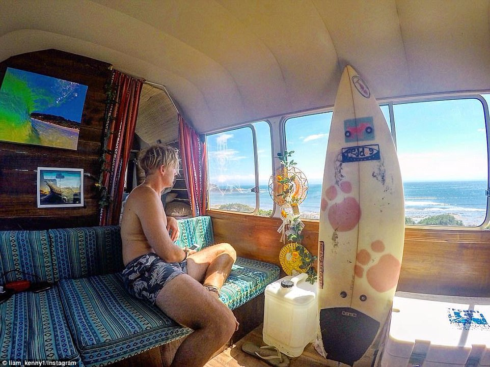 Surfs up: While some vanlifers opt to continue working from the vehicle, others are simply after an adventure