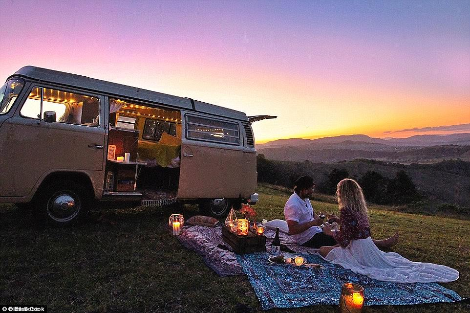 Picturesque: The freedom of living in a van means couples can enjoy secluded picnics and explore uncharted territory
