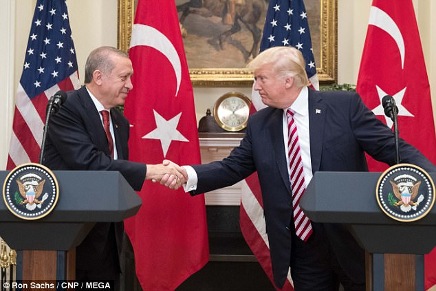 Donald Trump welcomes President Recep Tayyip Erdogan of Turkey to the White House for talks