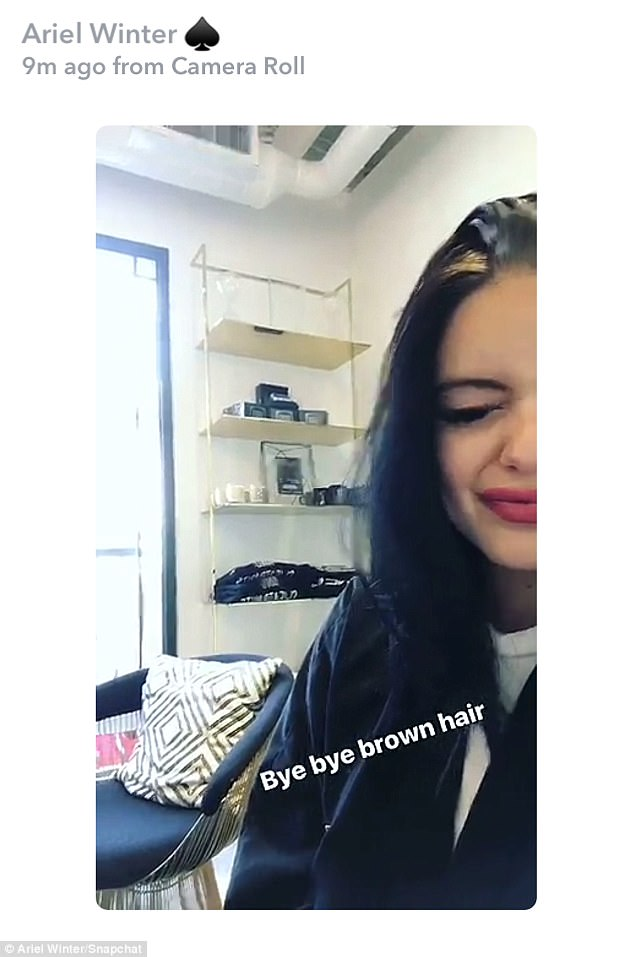 Making changes:'Bye bye brown hair,' she captioned this squinty selfie from inside the hair salon
