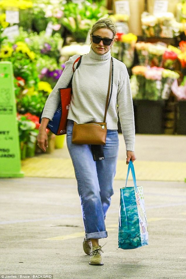 Forever young:Cameron Diaz showed off her youthful complexion at Whole Foods on Tuesday
