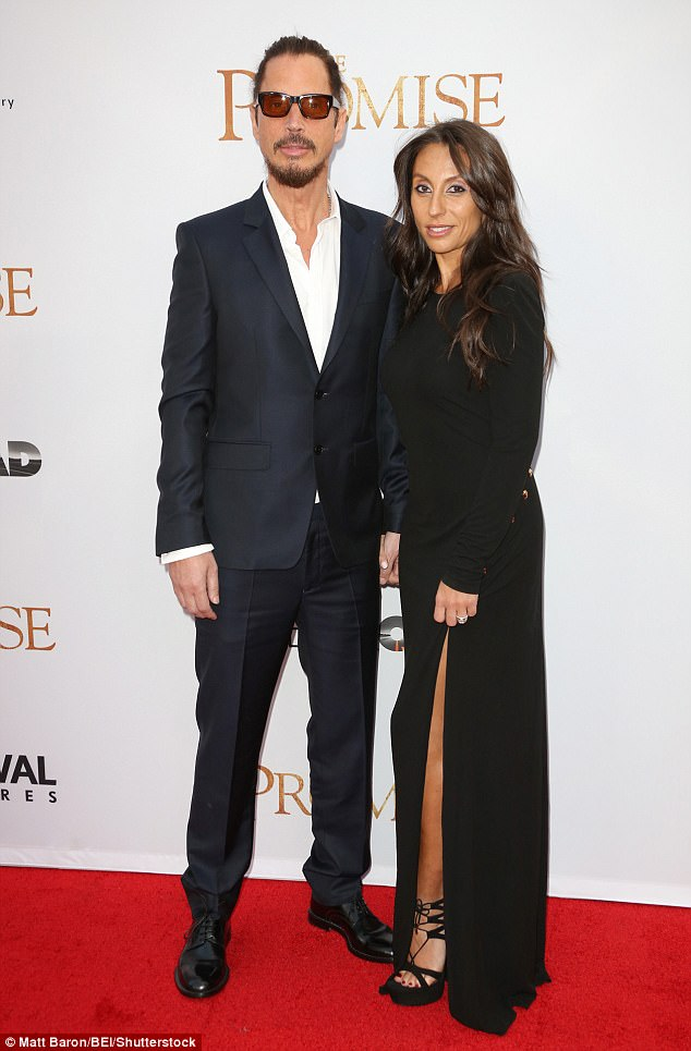 His love: Chris, who famously sang the song, You Know My Name, for James Bond movie Casino Royale, was married to wife of 13 years, Vicky Karayiannis (pictured in April 2012)