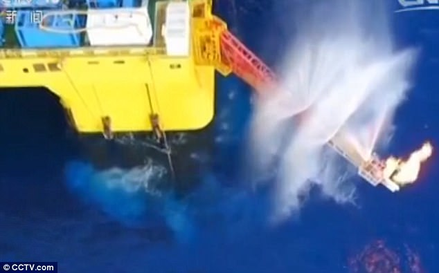 The Chinese used a floating platform as a base to then searching for the flammable ice