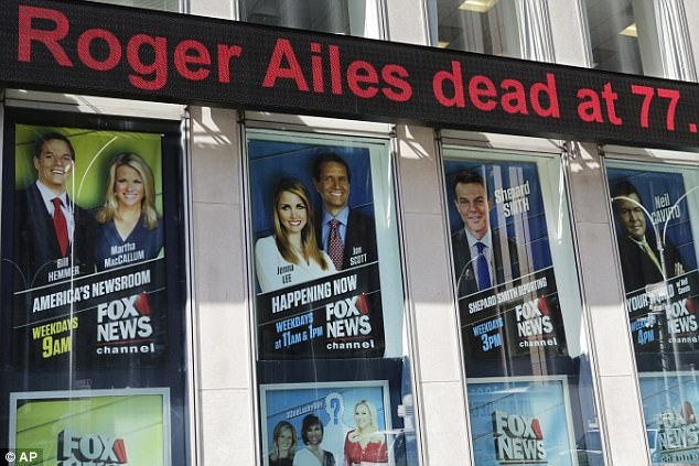 The news ticker outside Fox News, the network Ailes helped found, reports his death Thursday morning