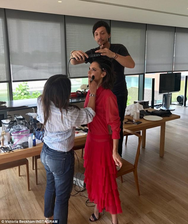 Teamwork makes the dream work: Victoria Beckham has been keeping her followers updated about her antics in China, sharing a funny behind-the-scenes snap from her endless photoshoot sessions on Thursday