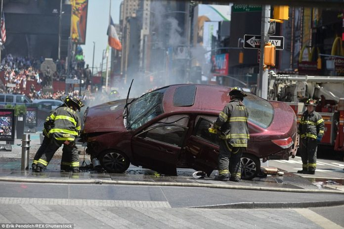 Thespeeding vehicle has struck at least 20 pedestrians on a sidewalk in New York City's Times Square, killing one person and seriously injuring another four. The driver was arrested