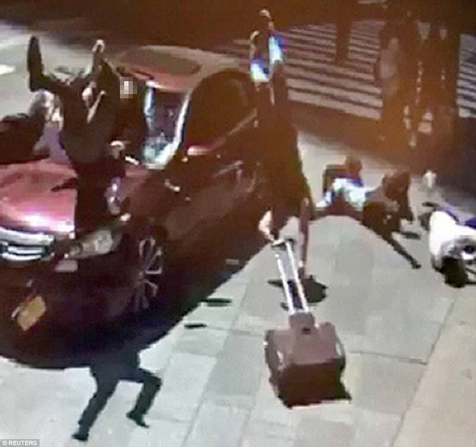 This is the harrowing moment a drug-crazed driver mercilessly plowed through pedestrians in Times Square on Thursday at 11.55am before telling police when he was arrested that he wanted to kill them 'all' and then be shot dead himself