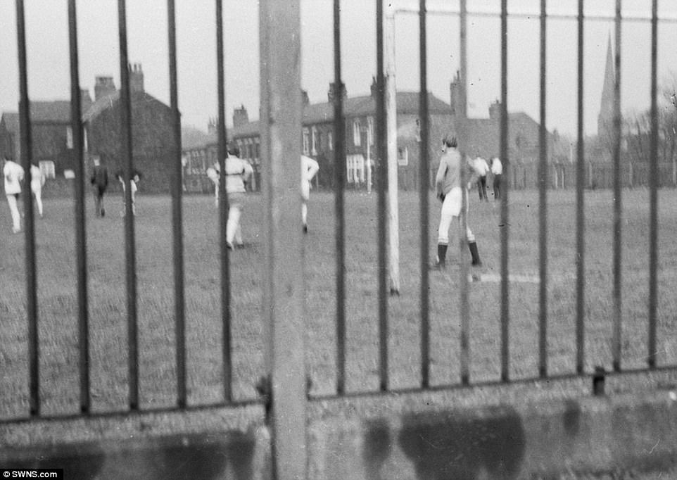 Pictures taken from the van also show a boy's football match at the school. Three of Brady and Hindley's victims were boys