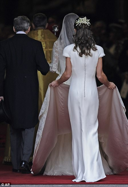 Pippa was on hand to help Kate with her dress back in 2011 at the royal wedding