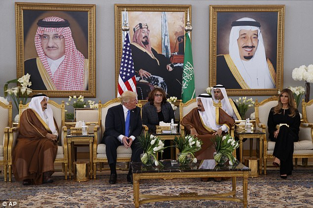 Trump and King Salman had a welcome ceremony inside the Royal Terminal of King Khalid International Airport after Air Force One landed