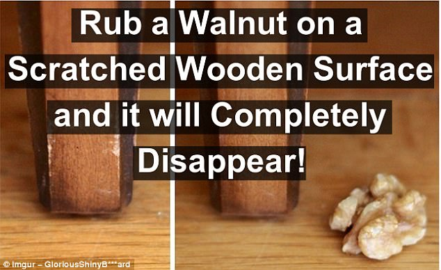 Nuts: The waxy consistency of a walnut will smooth over scratches on wood