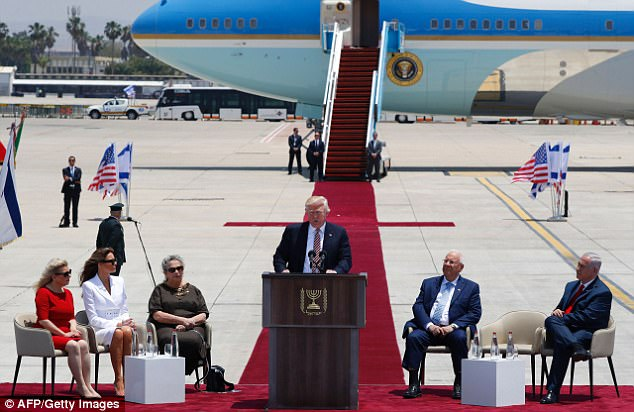 Trump arrived in Israel on Monday from Saudi Arabia, and will next go to Rome for a Papal audience before visiting Brussels and Sicily for NATO and G7 meetings
