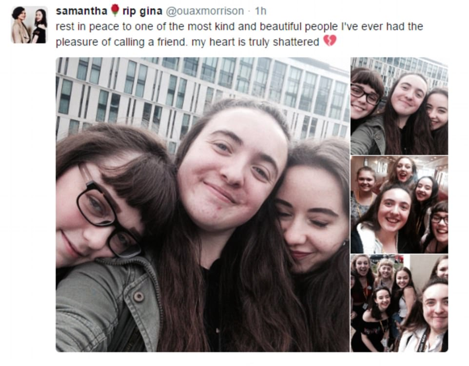 Friends tweeted tributes to Georgina (pictured left in the main image), with one writing that her 'heart is truly shattered'