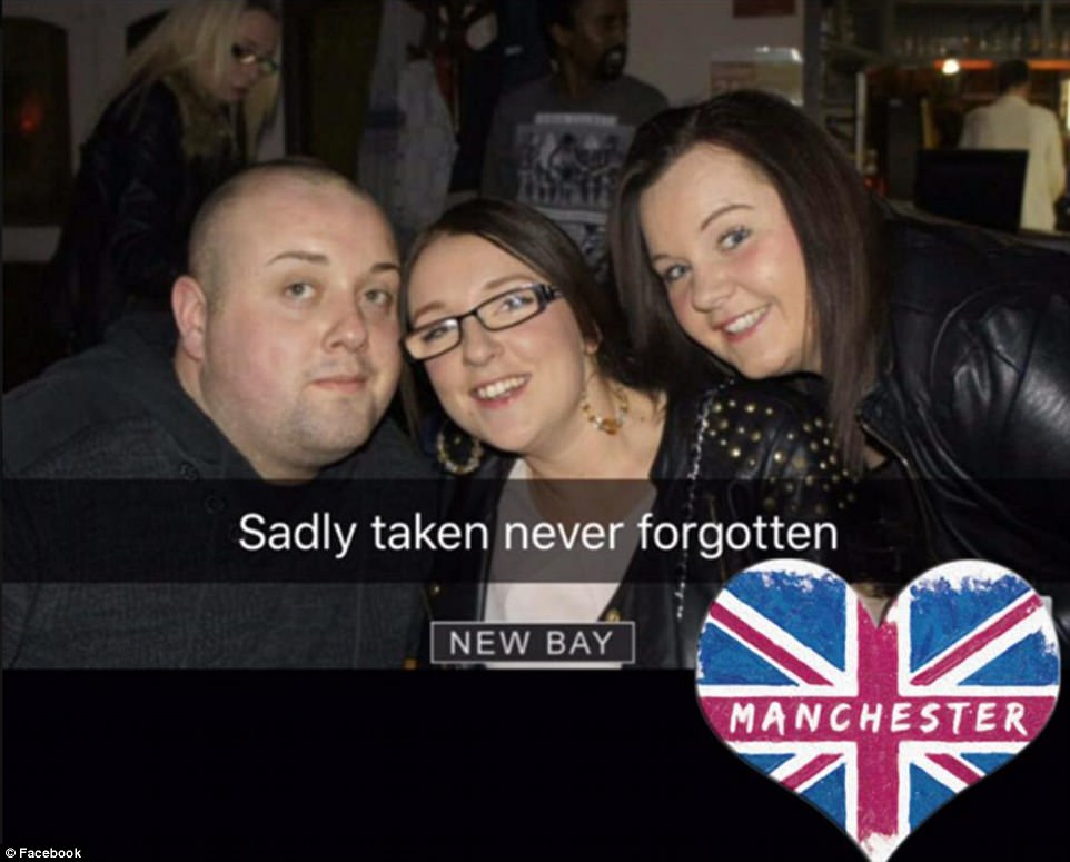 This image, believed to be of victim John Atkinson (pictured left), 26, from Bury, has been posted on Facebook by a friend
