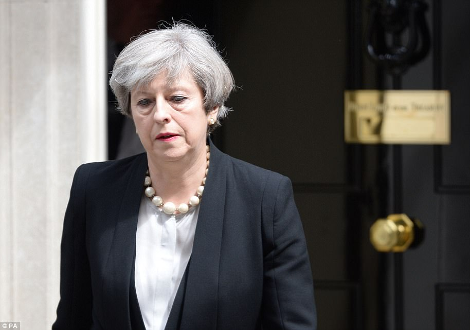 Theresa May spoke outside Number 10 Downing Street this morning after she and Jeremy Corbyn suspended election campaigning