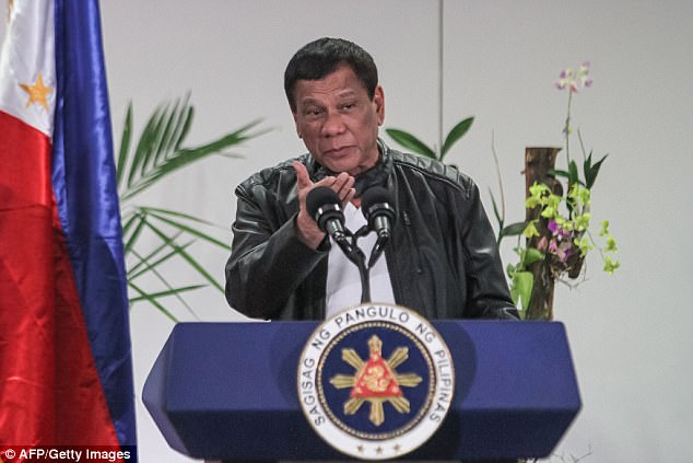 Duterte (pictured) declared martial law across the southern region of Mindanao last night after Islamist militants rampaged through the city of Marawi