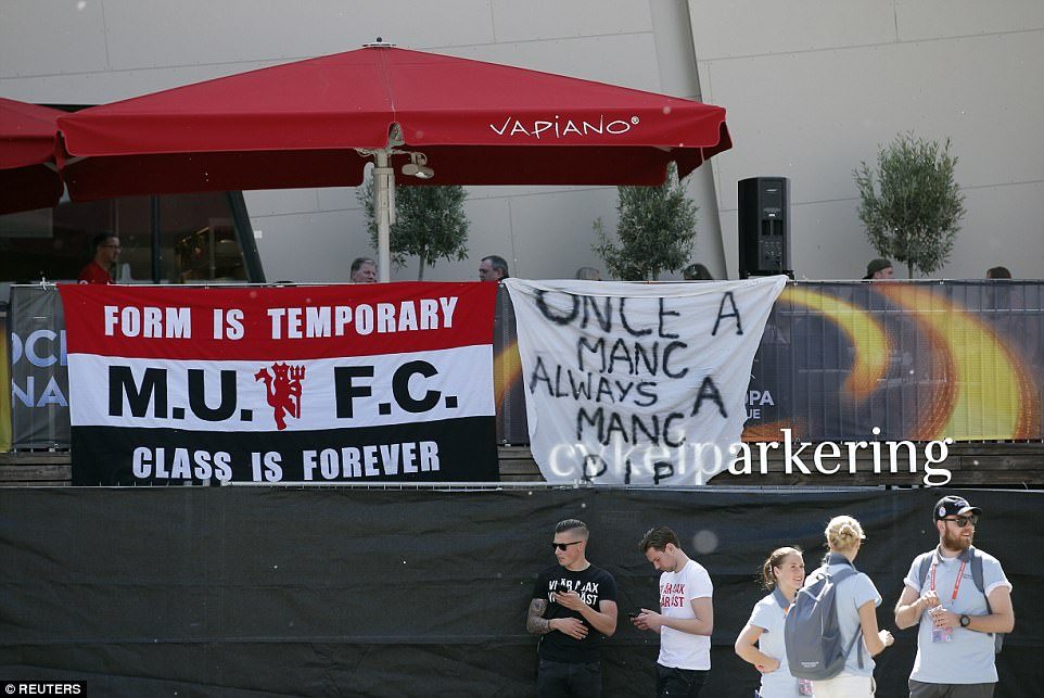 Another supporter brought a banner that read 'Once a Manc, always a Manc. RIP' referring to the attack on Monday
