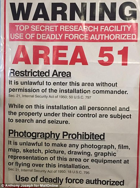 A rather frightening warning sign for Area 51