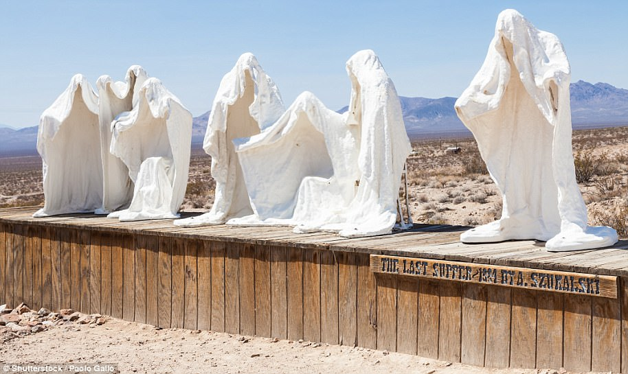 At the Goldwell Open Air Museum near Rhyolite is an outdoor sculpture park that contains a ghost sculpture of The Last Supper