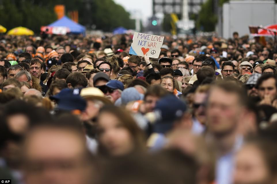 Crowds packed the streets of Berlin for the opportunity to see the former American president speak alongside German Chancellor Angela Merkel