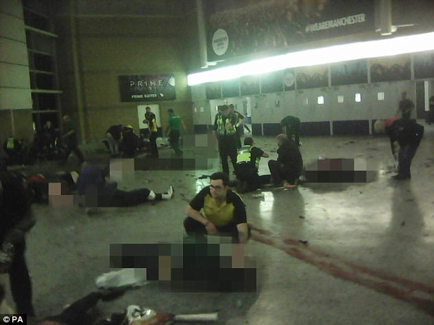 Mr Ghaffur says the 'internment camps' would be community-based centres where extremists would be risk-assessed and theologically examined. Pictured: The aftermath of the Manchester Arena suicide bomb