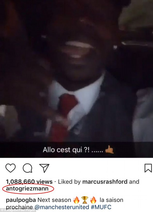 Manchester United target Griezmann 'liked' Pogba's suggestive Instagram video