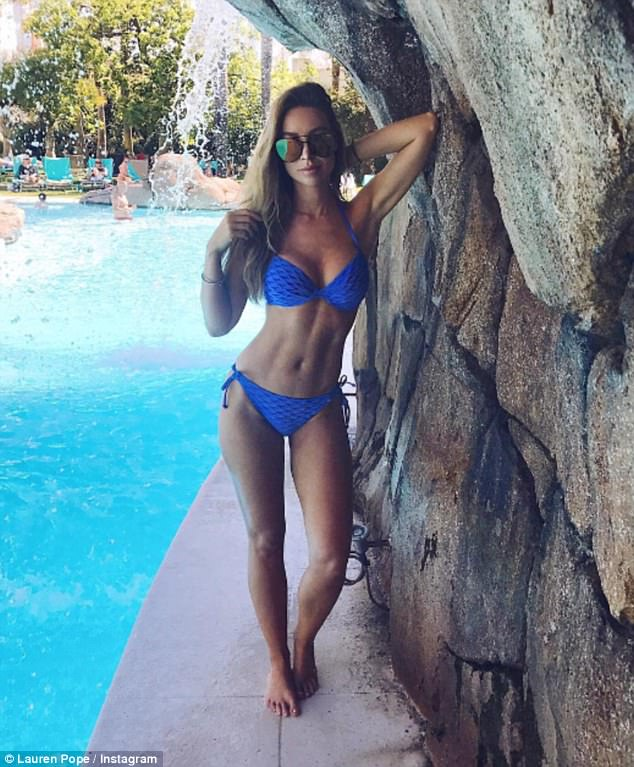 Making waves! Lauren Pope took a break from disk jockey duties as she sizzled for a pool-side snap in Marbella