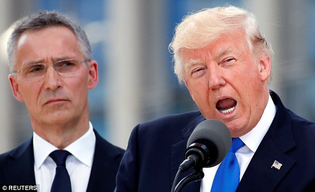 They will discuss transatlantic relations, the future of the European Union and 'a progress report' on the Trump administration behind closed doors at the four-day meeting. Pictured, Stoltenberg with Trump in May