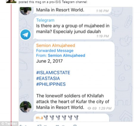 New York Times reporter Rukmini Callimachi tweeted screenshots from the encrypted messaging service Telegram