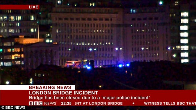 Witnesses told the BBC that a white van veered off the road on London Bridge and hit five or six people