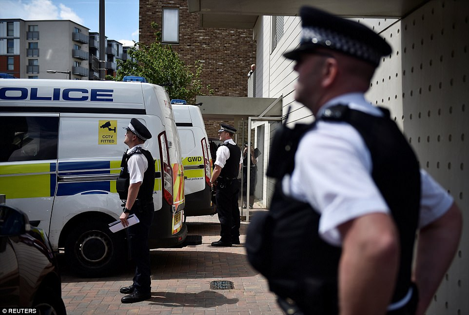 Police were also seen talking to a group of burka-clad women, witnesses said, as the area was cordoned off while officers searched for clues