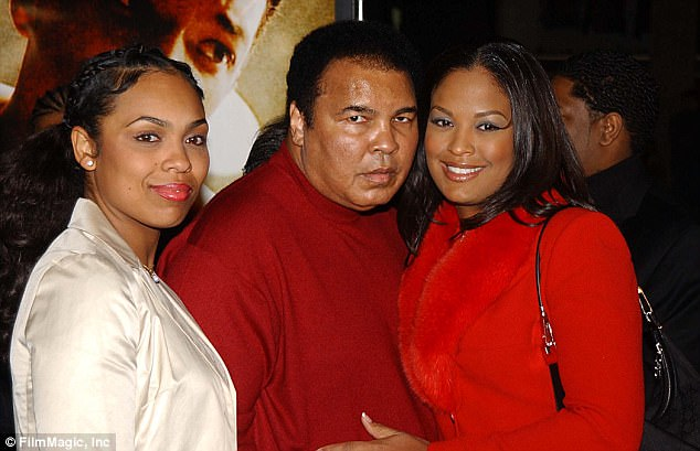 Following his death, reports emerged indicating that the boxing legend and civil rights icon had left his $80million fortune to be divided evenly amongst his nine children. Ali (center) is seen above with two of his daughters, Hana and Laila