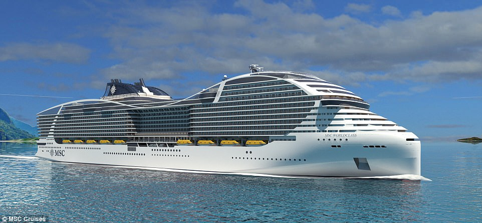 MSC Cruises has announced plans for its new World Class ships, which will carry a maximum of 6,850 guests and boast 2,760 cabins. This CGI image reveals what the vast vessels will look like when they're delivered between 2022 and 2026