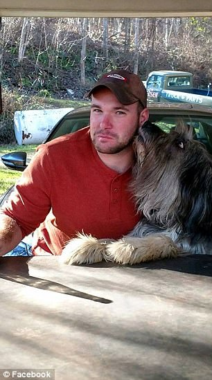 Mundy (with a different dog, right) was last seen weeping and saying he knew his service animal would be 'put down'
