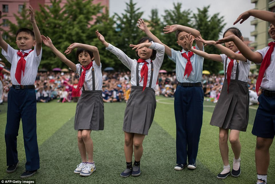 Loyalty: The sports day took place at the Number Four primary school in Pyongyang, the secretive nation's capital