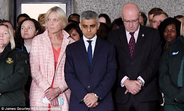 Sadiq Khan during a one minute's silence for those who died in the London Bridge attack at the London Ambulance Service HQ One Minute's silence for London terror attack victims