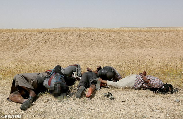 Los cuerpos en descomposición de 15 combatientes ISIS sospechosos han sido hallado muerto en el lado de una carretera en Mosul