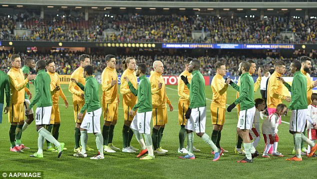 The teams were cordial towards each other as they arrived at the pitch, but tensions flared moments after when the Saudi team failed to observe the minute of silence