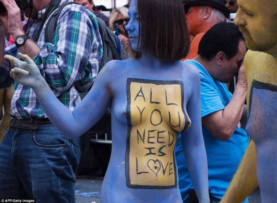 Models picked which phrases would be written on their torsos. The phrases were meant to inspire positivity and acceptance