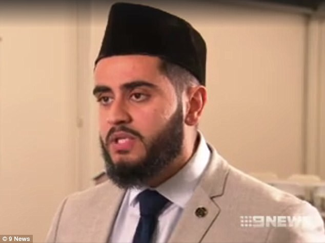 Imam Kamran Tahir (pictured) said he was open to authorities installing cameras inside his mosque as a surveillance measure