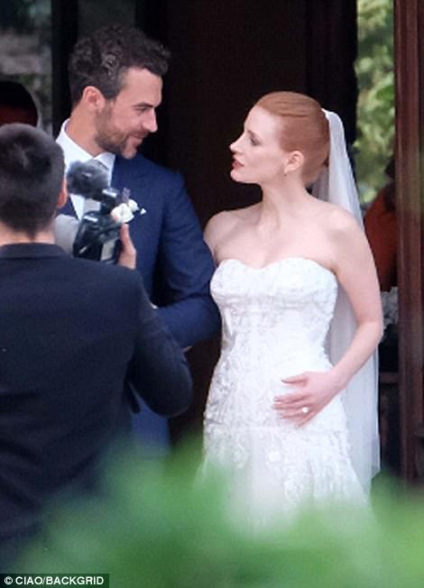 Jessica Chastain Looks Stunning In White Bridal Gown