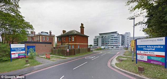 The incident happened near the Queen Alexandra Hospital (pictured) at Cosham, near Portsmouth