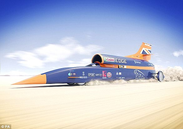 The Bloodhound team will seek to reach 800 mph (1,287 km/h) and then1000 mph (1,600 km/h) in tests to take place atHakskeen Pan, a dried-out lake bed in Northern Cape, South Africa (artist's impression)