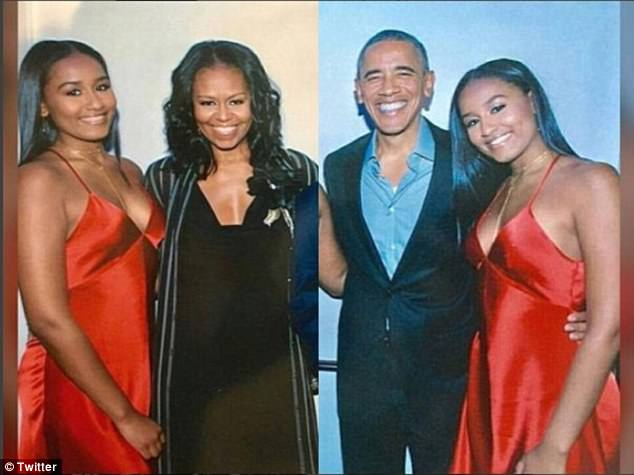 Sasha Obama celebrated her sweet 16 in style, as pictures from her birthday bash emerged online. Pictured above, with parents Michelle and Barack Obama