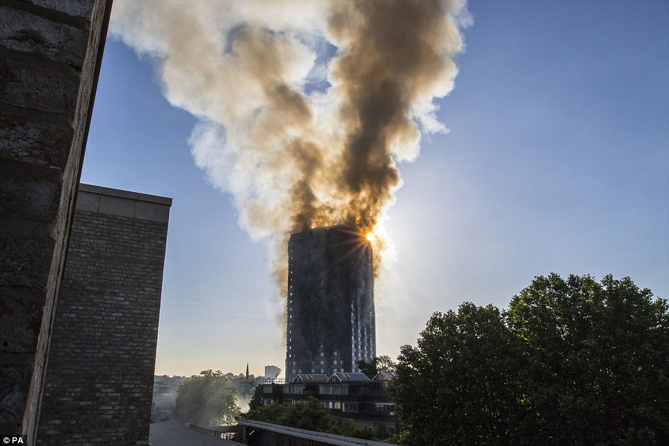 The smoke fills the sky above west London. Witnesses spoke of smelling smoke at about 1am, with reports that no fire alarm sounded after the blaze broke out