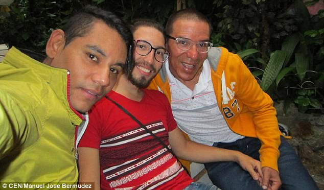 Breaking boundaries: It is the first marriage of its kind to be legally recognized in Colombia, where same-sex marriage was legalized last year. Pictured above are Bermudez (left), Prada (center) and Rodriguez (right)